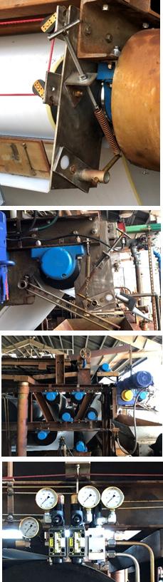 4 closeup photos of different parts of belt presses