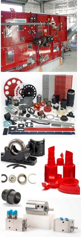 4 photos of assorted belt press parts