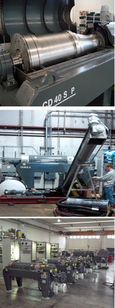 Decanter centrifuge service montage of photos
