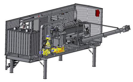 Rendering of a decanter centrifuge test unit