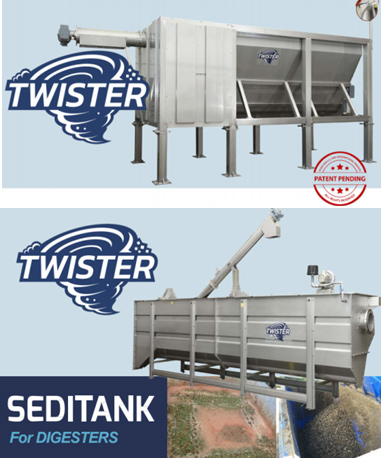 DRYCAKE TWISTER and Seditank for digesters