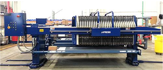 An 800mm Evoqua JWI J-Press filter press with drip trays and a plate shifter
