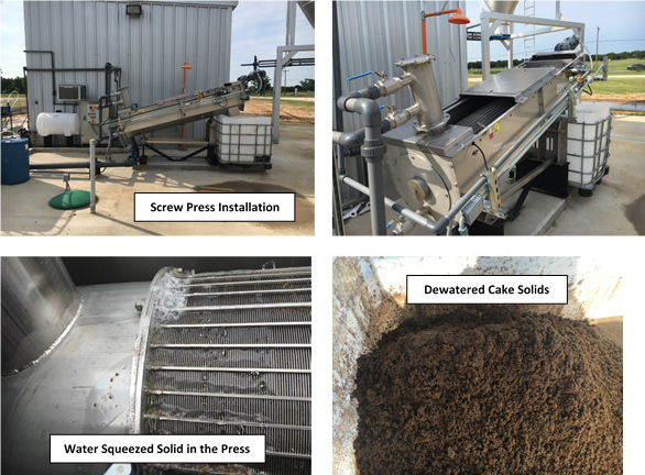 Photos of screw press installation, water squeezed solid, dewatered cake solids