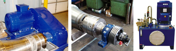 3 photos of decanter centrifuge back-drives