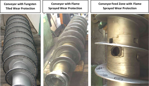 Conveyor with Tungsten Tiled Wear Protection, Conveyor with Flame Sprayed Wear Protection, Conveyor Feed Zone with Flame Sprayed Wear Protection