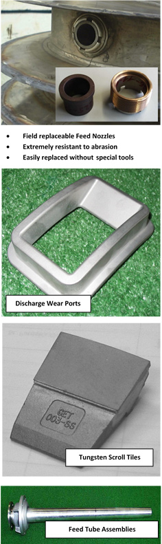 4 photos: feed nozzles, discharge wear ports, tungsten scroll tiles, feed tube assemblies