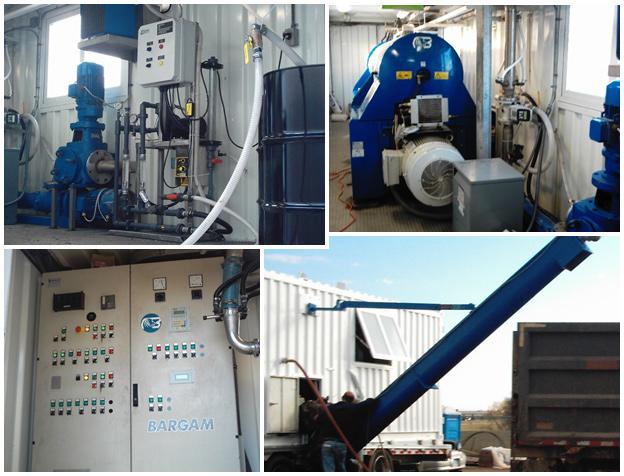 Trailer mounted 300-GPM Bargam centrifuge system - pump, centrifuge, PLC, exterior