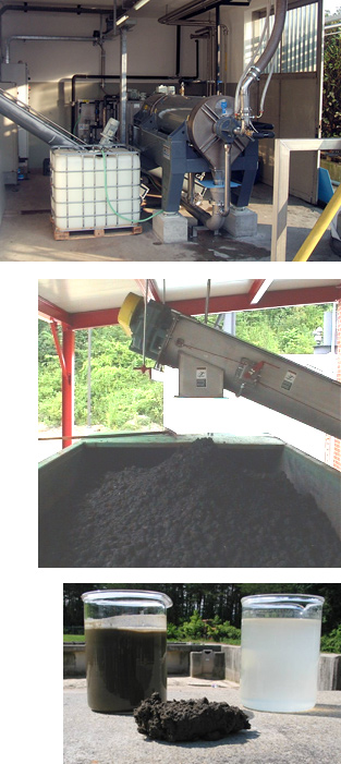 Photos of decanter centrifuge installation, dewatered solids and dry cake